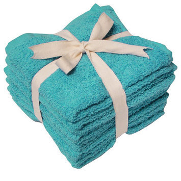 Textiles Plus Inc. Heavy Weight Wash Cloth (Set of 6), Teal