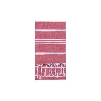 Nine Space Stripe Hand Towel 2 ea, 31 x 15, Red, 1 ea