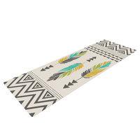 Kess Inhouse Painted Feathers by Amanda Lane Yoga Mat Color: Cream
