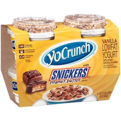 YoCrunch® Vanilla Lowfat Yogurt with Snickers® Peanut Butter Pieces 4-4 oz. Cups