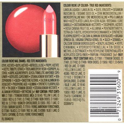 L'Oréal Paris The Art of Color Colour Riche Nail & Lip Gift Set 2 ct Box