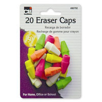 Charles Leonard Co. Eraser Pencil Caps, 20 per Pack, Neon Assorted