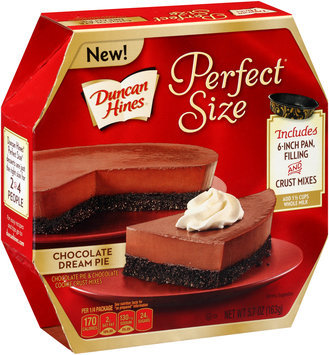 Duncan Hines® Perfect Size™ Chocolate Dream Pie Chocolate Pie & Chocolate Cookie Crust Mixes 5.7 oz. Box