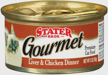 Stater Bros. Gourmet Liver & Chicken Dinner Premium Cat Food 3 Oz Brush-Top Can