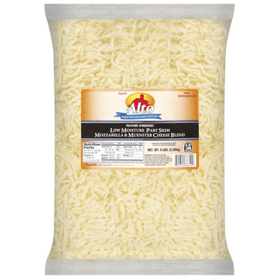 Alto® Feather Shredded Low Moisture Part Skim Mozzarella & Muenster Cheese Blend Cheese 5 Lb Bag