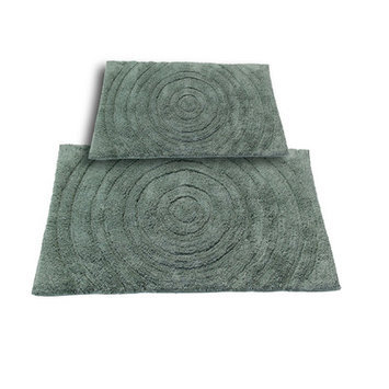 Textile Decor Castle 2 Piece 100% Cotton Echo Spray Latex Bath Rug Set, 34 H X 21 W and 40 H X 24 W, Green