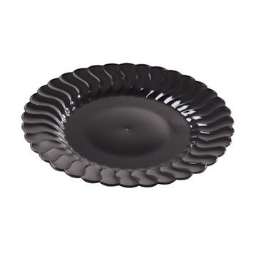 Fineline Settings, Inc Flairware Round Rippled Disposable Plastic Dessert Plate (180/Case), Black