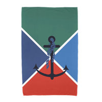 Breakwater Bay Anchor Flag Beach Towel Color: Green