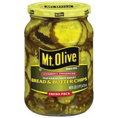 Mt. Olive Bread & Butter Chips Old Fashioned Sweet Pickles 16 Oz Jar