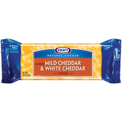 Kraft Natural Cheese Cheddar Mild & Cheddar White Chunk Cheese 8 Oz Brick