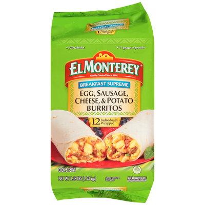 El Monterey® Breakfast Supreme Egg, Sausage, Cheese, & Potato Burritos 12 ct Bag