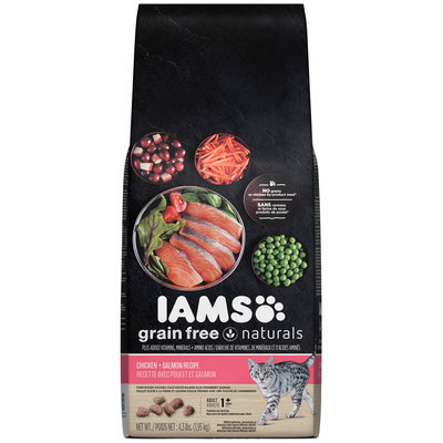 Iams Grain Free Naturals Chicken + Salmon Recipe Adult 1+ Years Premium Cat Food 4.3 lb. Bag