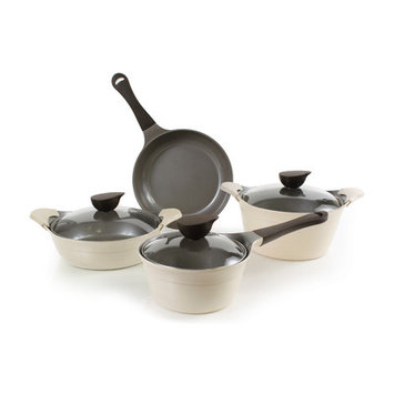 Neoflam 51253 7 Piece Eela Cast Aluminum Cookware Set Ivory