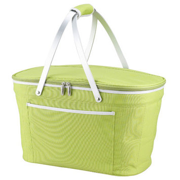 Picnic at Ascot Collapsible Empty Picnic Basket Cooler, Apple Green