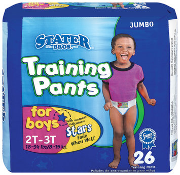Stater Bros. Boys 2t to 3t 18-34 Lbs Jumbo Pack Training Pants 26 Ct Bag