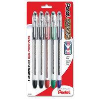 Pentel of America, Ltd. Ballpoint Pen, Medium Point,5/PK, Asst. Ink/Clear Barrel