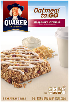 Quaker® Oatmeal To Go Raspberry Streusel Breakfast Bars