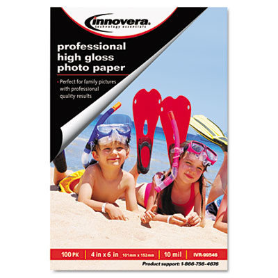Innovera Photo Paper High-Gloss, 4 x 6, 100 Sheets/Pack