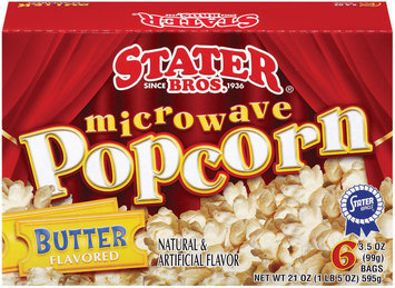 Stater Bros. Butter 6 Ct Microwave Popcorn 21 Oz Box