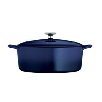 Tramontina Gourmet Enameled Cast Iron Covered Oval Dutch Oven - Gradated Cobalt