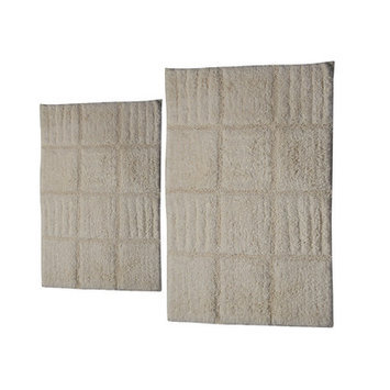 Textile Decor Castle 2 Piece 100% Cotton Chakkar Board Spray Latex Bath Rug Set, 24 H X 17 W and 30 H X 20 W