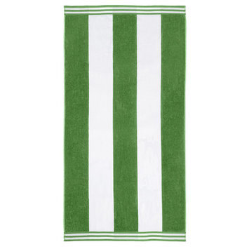 Wayfair Basics Superior Oversized Cotton Cabana Stripes Beach Towel Color: Dark Green