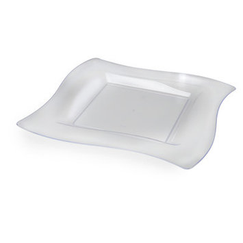 Fineline Settings, Inc Wavetrends Square Salad Plate (Pack of 120), Clear