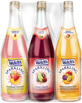 Welch's® Sparkling Strawberry Lemonade/Sparkling Cherry Limeade/Sparkling Mango Passion Fruit Juice Cocktail Variety Pack 3-25.4 fl. oz. Glass Bottles