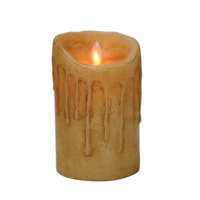 Boston Warehouse 40330 Mystique 5 in. Primitive Buttercream Flameless Pillar Candle