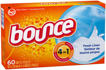 Bounce Fabric Softener Dryer Sheets Fresh Linen 60CT