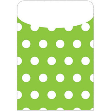 Top Notch Teacher Products TOP6034 Brite Pockets Grn Polka Dots 25 per Bag- Peel & Stick