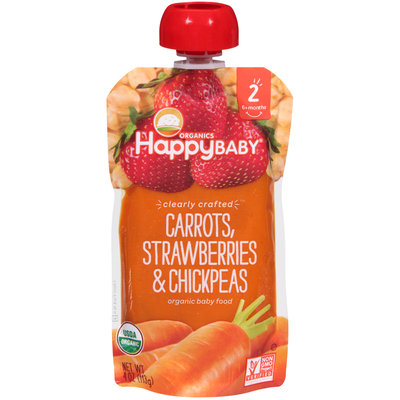 Happy Baby® Organics Clearly Crafted  Carrots, Strawberries & Chickpeas Organic Baby Food 4 oz. Pouch