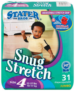 Stater Bros. Snug Stretch Adjustable Stretch Grip Jumbo Pack Size 4 22-37 Lbs Diapers 31 Ct Bag