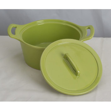 Omniware Stoneware Round Casserole Color: Yellow, Size: Large