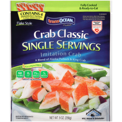 TransOcean® Products Crab Classic Single Servings Flake Style Imitation Crab 9 oz. Bag