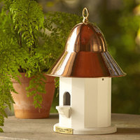 Lazy Hill Farms Polished Copper Roof Copper Top Bird House