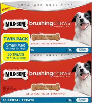Milk-Bone Brushing Chews Daily Dental Treats - Small/Medium Twin Pack