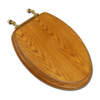 Comfort Seats Decorative Finish Wood Toilet Seat DkOak/Brass Elongated