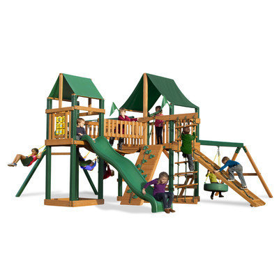 Gorilla Playsets Playground Equipment. Pioneer Peak with Amber Posts and Sunbrella Canvas Forest Green Canopy Cedar Playset