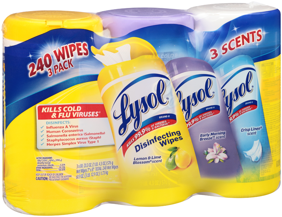 Lysol® Lemon & Lime Blossom® Early Morning Breeze™ Crispy Linen® Scent Disinfecting Wipes 3-20.3 oz Pack