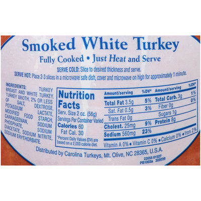 Carolina Turkey® Boneless Cured Smoked White Turkey