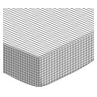 Stwd Gingham Jersey Knit Crib/Toddler Fitted Sheet Color: Gray