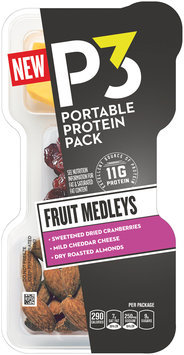 P3 Fruit Medleys Cranberries, Mild Cheddar, & Almonds Portable Protein Pack 2.1 oz. Tray