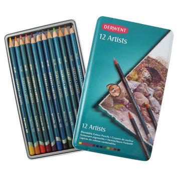 Derwent Artists Pencils Round-barrelled Smooth-textured Assorted Colours Ref 32092 (Pack 12)