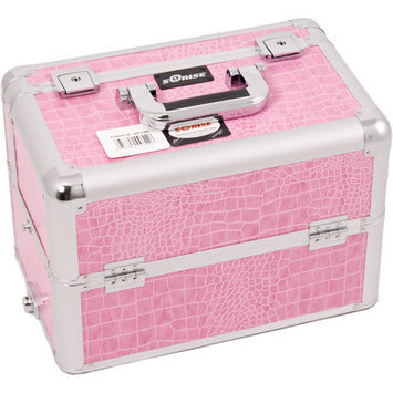 Sunrise E3302CRPK Pink Crocodile Pro Makeup Case