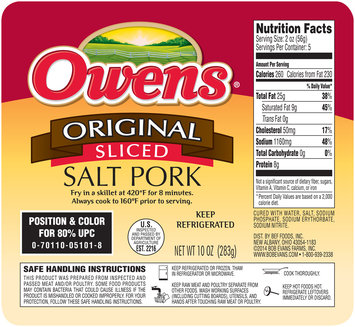 Owens® Original Sliced Salt Pork 10 oz. Tray