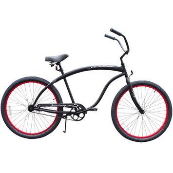 Beachbikes Men's Bruiser Beach Cruiser Bike Frame Color: Matte Black with Red