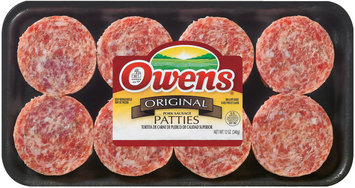 Owens Original Patties 8 Ct Sausage Patties 12 Oz Tray