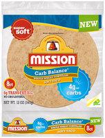 Mission® Carb Balance® Soft Taco Size Whole Wheat Tortillas 8 ct Bag