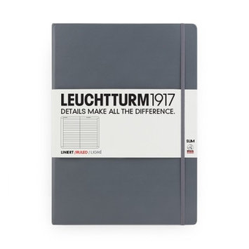Kikkerland Leuchtturm Slim Master Book Paper: Lined, Color: Grey